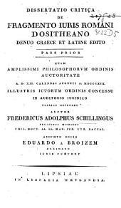 Dissertatio critica de fragmento juris Romani Dositheano
