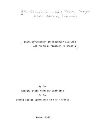 Equal Opportunity in Federally Assisted Agricultural Programs in Georgia PDF