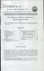 The Breakfast Meal in Relation to Blood-sugar Values