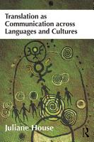 Translation as Communication across Languages and Cultures PDF
