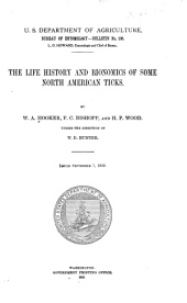 The life history and bionomics of some North American ticks: Volumes 106-109
