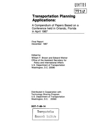 Transportation Planning Applications. Final Report