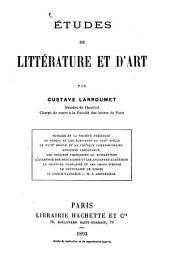 Études de littérature et d'art: Volume1