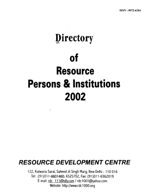 Directory of Resource Persons   Institutions  2002 PDF