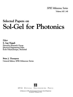 Selected Papers On Sol Gel For Photonics