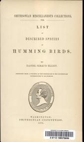 List of Described Species of Humming Birds: Volume 16, Issue 6