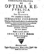 Exercitatio politica De optima republica