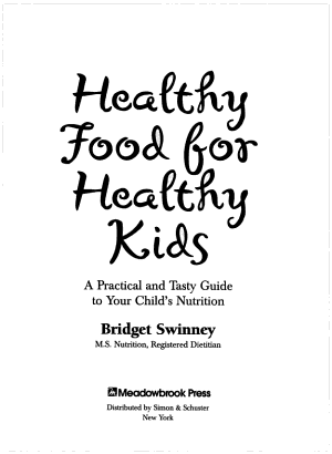 Healthy Food For Healthy Kids PDF