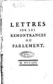 Lettres sur les remontrances du Parlement
