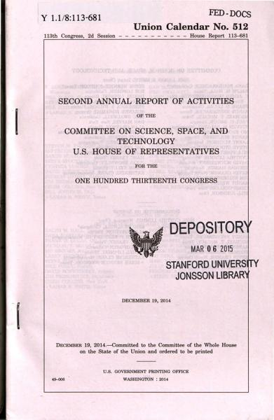 Annual Report Of Activities Of The Committee On Science Space And Technology U S House Of Representatives For The Congress