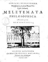 Meletemata philosophica: maximam partem, metaphysica