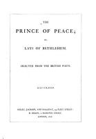 The Prince of Peace  Or  Lays of Bethlehem PDF