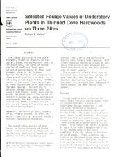 Selected forage values of understory plants in thinned cove hardwoods on three sites