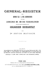 General-Register der Bände 11/20- des Jahrbuches und der Jahrgange 1860/70- der Verhandlungen