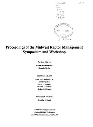 Proceedings of the Midwest Raptor Management Symposium and Workshop PDF