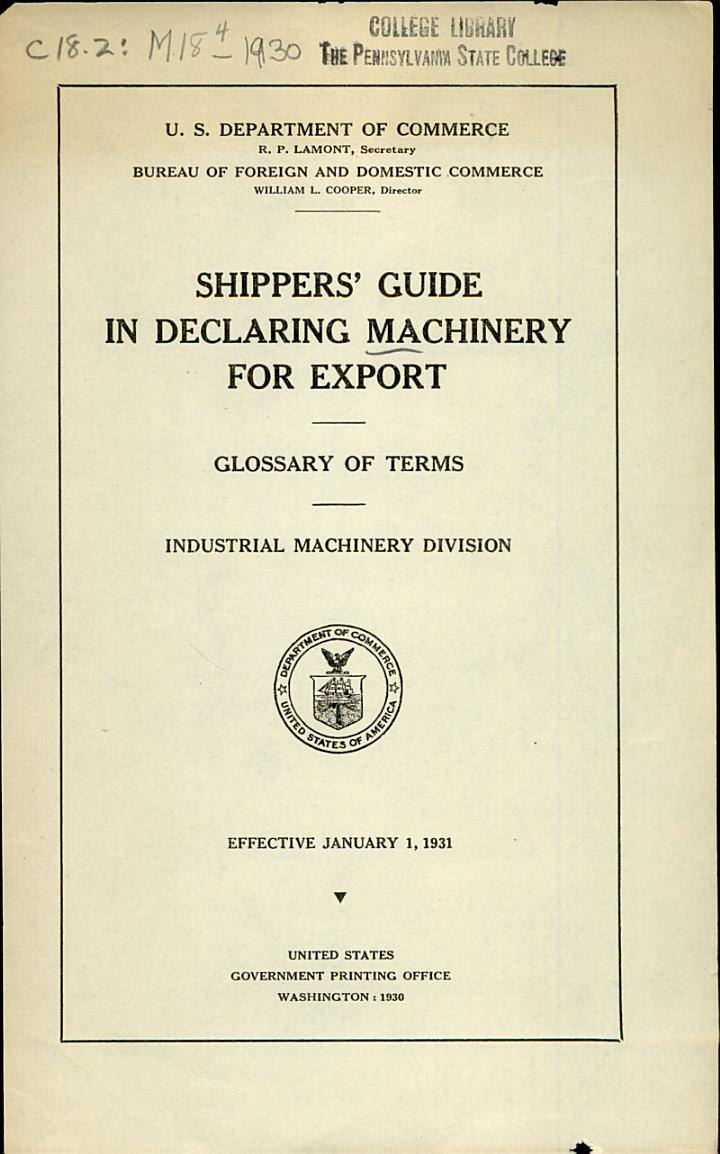 Shippers' Guide in Declaring Machinery for Export