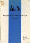 Nineteenth Century Short Title Catalogue Nstc Newsletter Book PDF