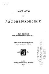 Geschichte der Nationalökonomik