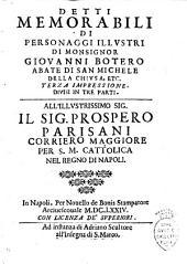 Detti memorabili di personaggi illustri di monsignor Giouanni Botero abate di San Michele della Chiusa, etc