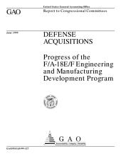 Defense acquisitions progress of the F/A18E/F engineering and manufacturing development program : report to congressional committees