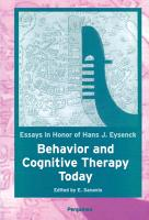 Behavior and Cognitive Therapy Today  Essays in Honor of Hans J  Eysenck PDF