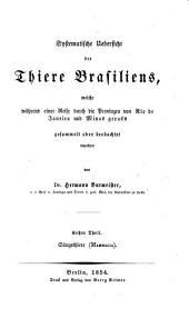 Systematische uebersicht der thiere Brasiliens: Band 1