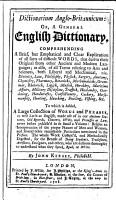 Dictionarium Anglo Britannicum  or  a general English Dictionary  comprehending a brief     explication of all sorts of difficult words  etc PDF