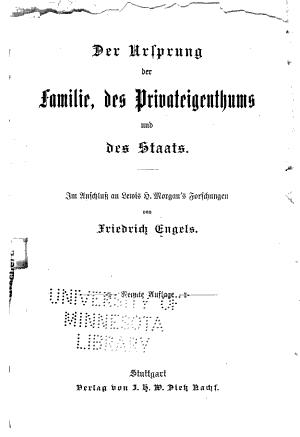 Der Ursprung der Familie  des Privateigenthums und des Staats