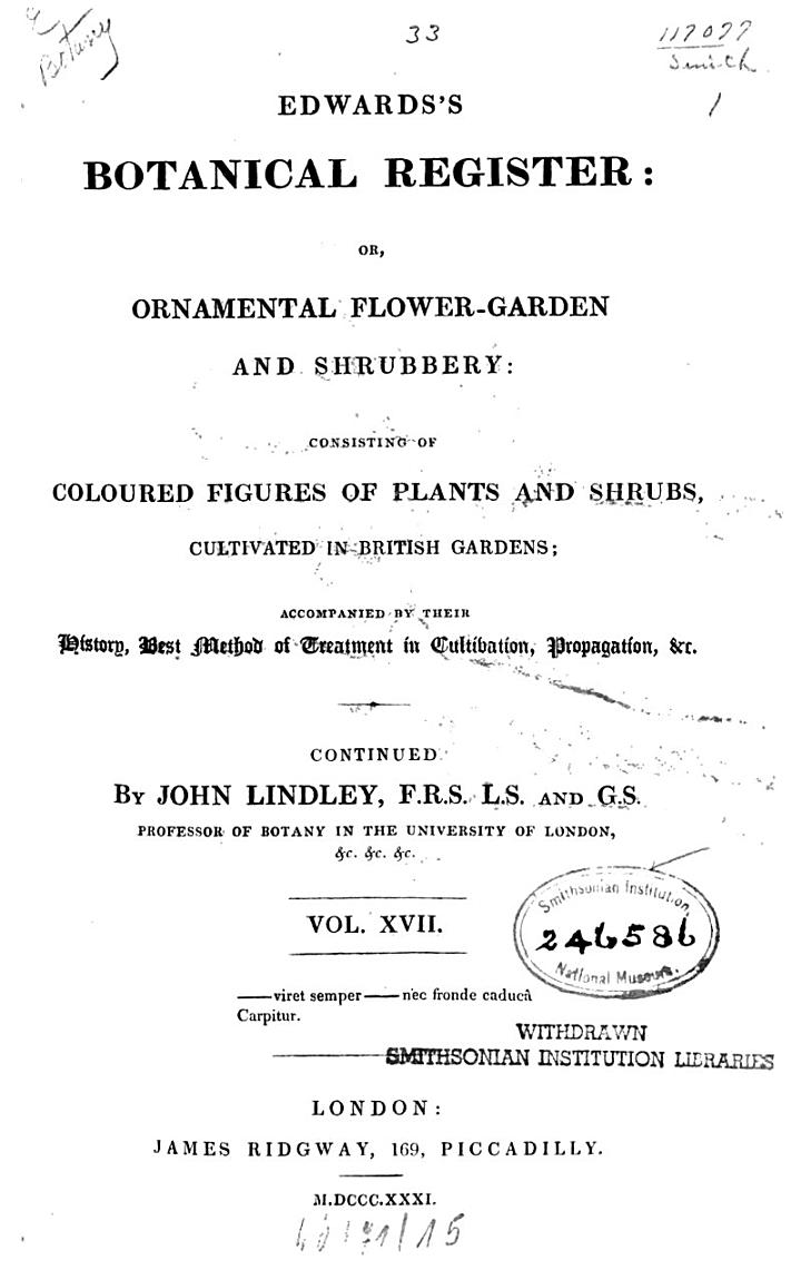 Edwards's botanical register, or ornamental flower garden and shrubbery