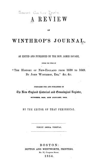 A Review of Winthrop s Journal PDF