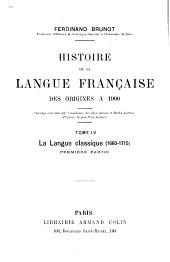 Histoire de la langue française des origines à 1900 ...