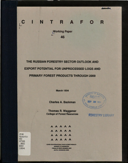 The Russian Forestry Sector Outlook and Export Potential for Unprocessed Logs and Primary Forest Products Through 2000 Book