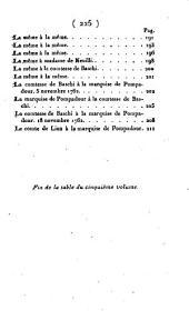 Mémoires de Madame la marquise de Pompadour: où l'on trouve un précis de l'histoire de la Régence, les motifs des guerres et les traités de paix, les ambassades, les négociations dans les différentes cours de l'Europe, les intrigues secrètes, le caractère des généraux, celui des ministres d'état, la cause de leur élévation, le sujet de leur disgrace, et généralement tout ce qui s'est passé de remarquable à la cour de France pendant le règne de Louis XV ; suivis de sa correspondance avec le maréchal de Saxe, le duc de Boufflers, le maréchal de Belle-Isle, M. d'Argenson, le comte de Maurepas, 1e duc de Nivernois, le cardinal de Bernis, le marquis de Vandière, le duc de Mirepoix, le duc de Richelieu, la reine de Hongrie, etc, Volume5