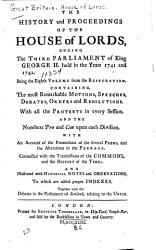 The History And Proceedings Of The House Of Lords From 1741 To 1743 Book PDF