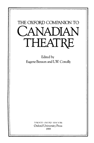 The Oxford Companion to Canadian Theatre PDF