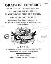 Oraison funèbre... de Marie Josephe de Saxe, dauphine de France, prononcée dans l'église de Paris, le 3 septembre 1767