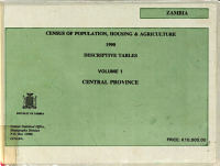 Zambia  Census of Population  Housing  and Agriculture  1990  Central Province PDF
