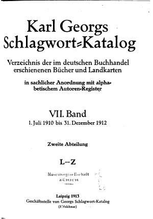 Karl Georgs Schlagwort katalog PDF