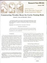 Constructing Wooden Boxes For Cavity Nesting Birds Book PDF