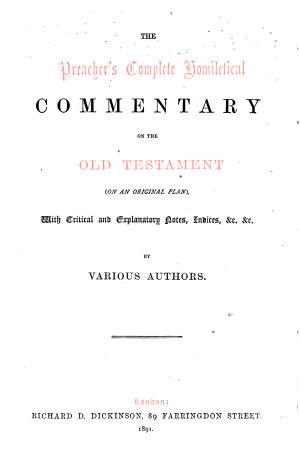 A homiletic commentary on the book of Lamentations  Intr  and notes by D G  Watt  and homiletics by G  Barlow