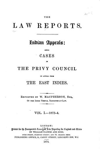 The Law Reports   Indian Appeals PDF