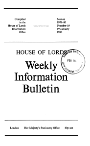 House of Lords Weekly Information Bulletin PDF