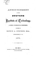 Annual Catalogue of the Stevens Institute of Technology PDF