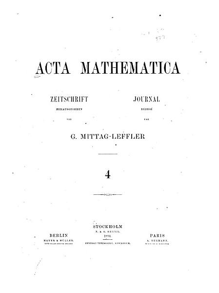 Download Acta mathematica Book
