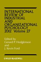 International Review of Industrial and Organizational Psychology 2012 PDF