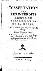 Dissertation sur les interdits arbitraires de la Célébration de la Messe