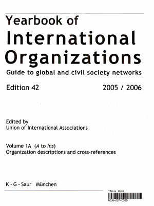 Yearbook of International Organizations 2005 2006 PDF