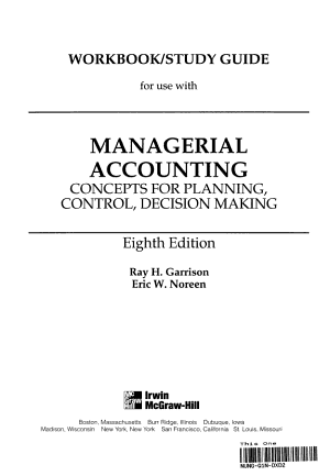 Workbook study Guide for Use with Managerial Accounting PDF