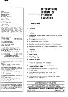 International Journal of Religious Education PDF