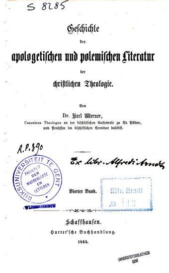 Geschichte der apologetischen und polemischen Literatur der christlichen Theologie PDF